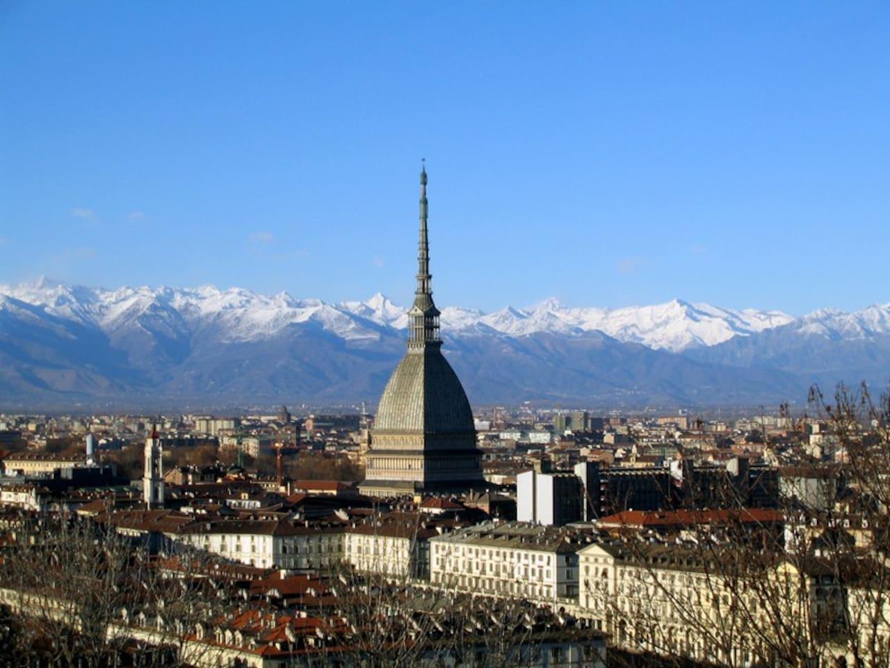 Il centro città visto dall'alto con la Mole Antonelliana