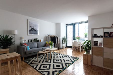 Modern studio apartment in Battery Park City. Waterfront building with concierge, rooftop with stunning views of the Statue of Liberty and steps to the boardwalk. Walking distance to 9/11 Memorial, to  Liberty Island Ferry and many beautiful parks.