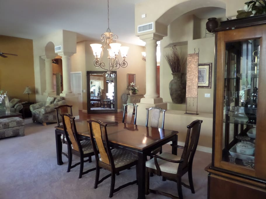 Foyer with great view of formal dinning & formal living rooms & the patio in the backyard