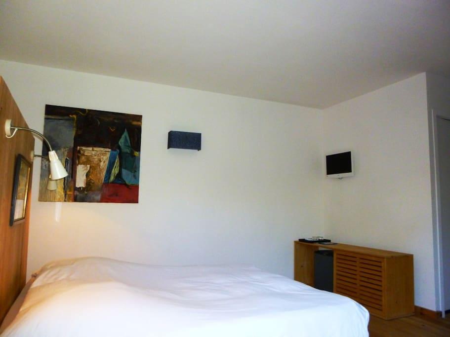 Lit 160, mini bar, TV, meuble bas et penderie derrière la tête de lit