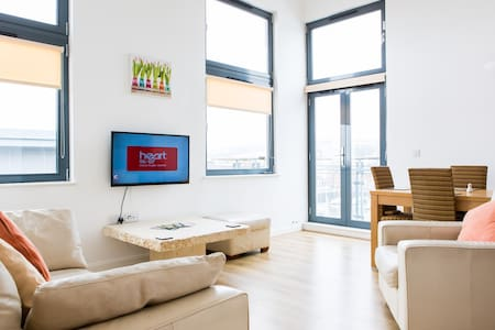 ST STEPHENS COURT, SWANSEA MARINA  LIFT TO TOP FLOOR SERVICING ONLY 3 APARTMENTS LEADS TO SPACIOUS HALLWAY.   SPECTACULAR LIVING ROOM WITH HIGH VAULTED CEILINGS AND PICTURE WINDOWS OVERLOOKING THE MARINA AND SIDE SEA VIEW TOWARDS THE SEA