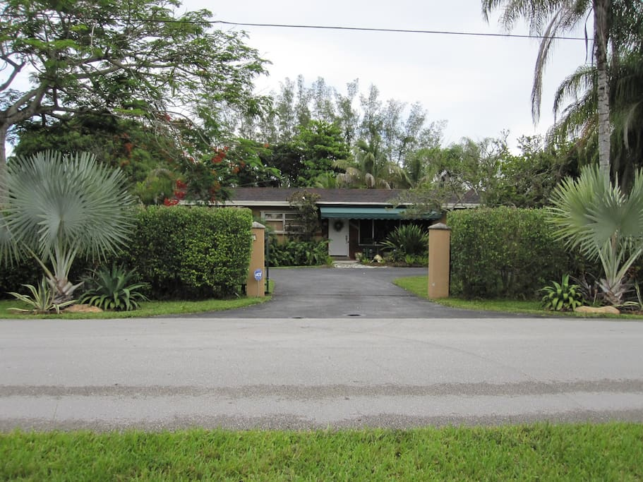Front of our home with gate open