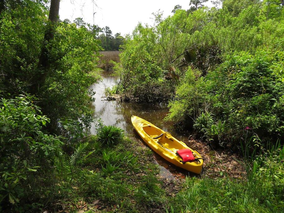 Tandem kayak at launch