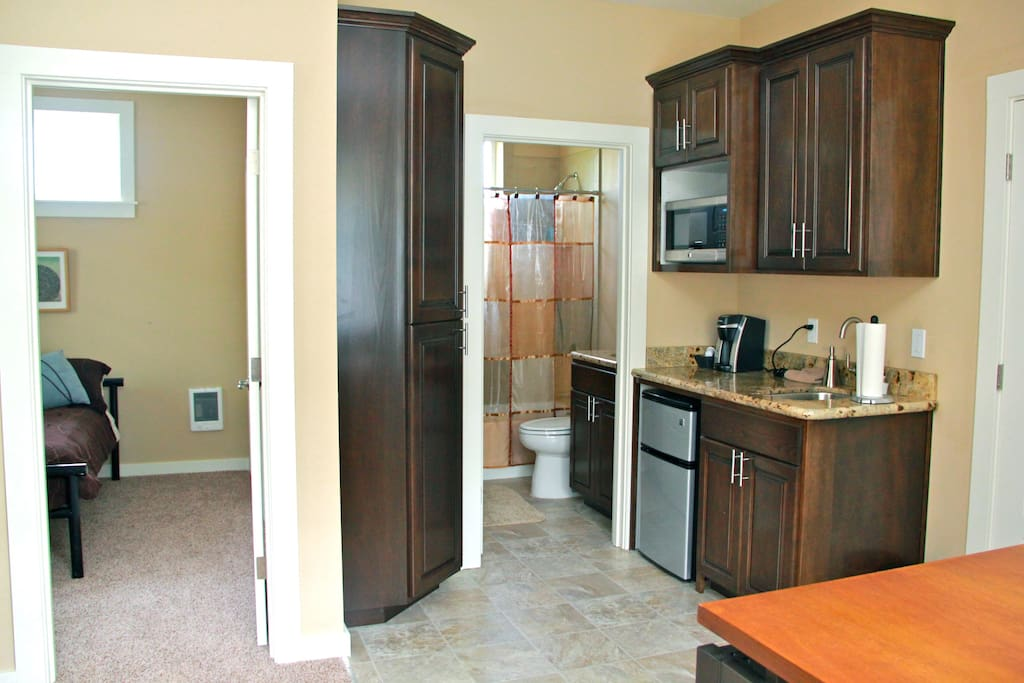 Kitchenette, microwave, refrigerator.  Toaster oven and hotplate available in storage room.