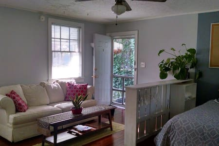 380 sq ft studio apartment in 2nd floor walk up. 6 windows, sunny and bright, surrounded by greenery. There is a pull out couch and comfy chair to relax in as well as a queen bed.  All newly repainted & new floors. Full kitchen and nice size bathroom