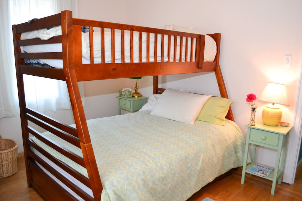Very comfortable double bed on the bottom and single on the top