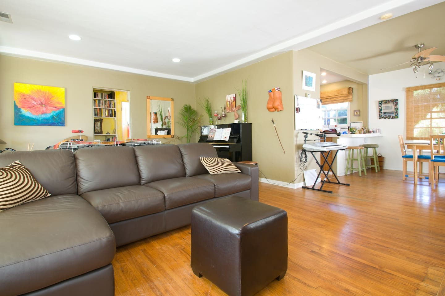 Comfortable leather sectional couch to entertain many folks.