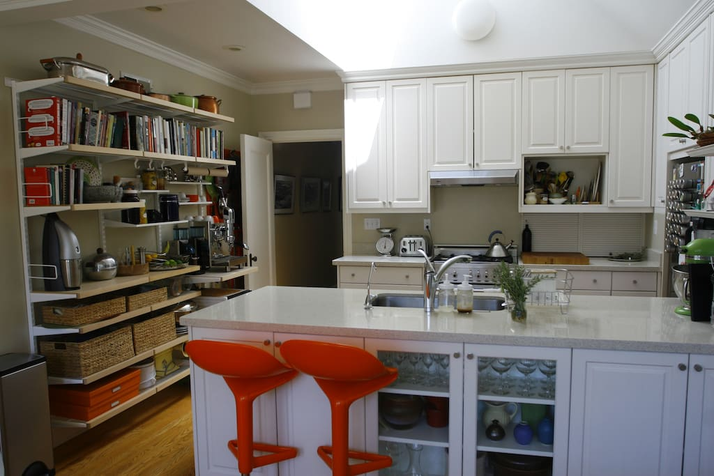 This is the kitchen side. A big skylight brings in a ton of light.