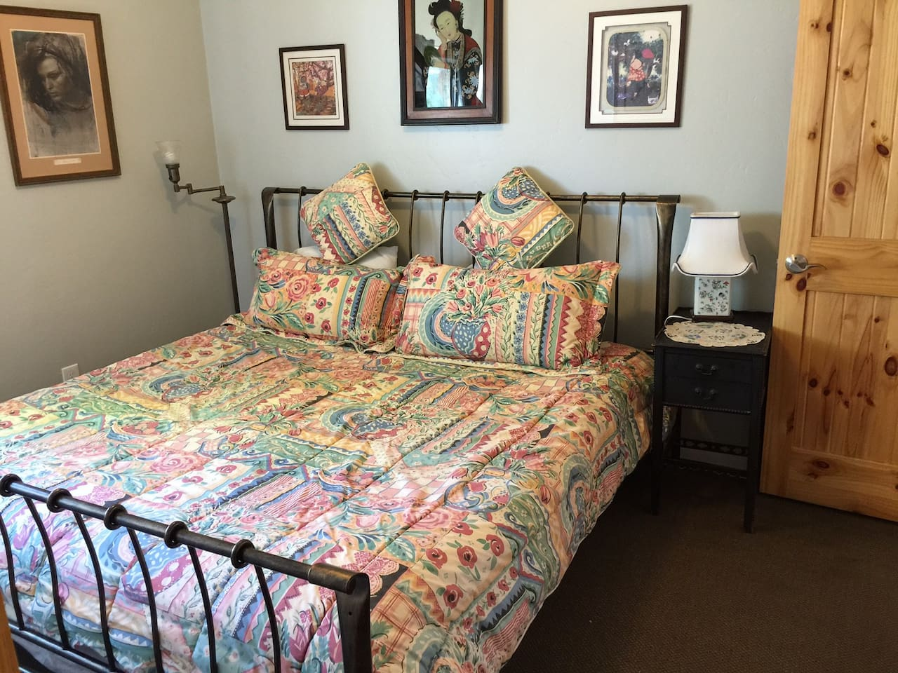 The bedroom has king size organic latex mattress