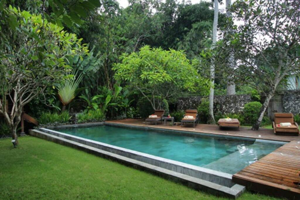 Pool view in its somptuous garden.