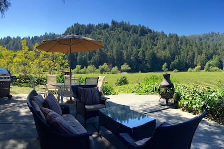 Located among the redwoods overlooking a vineyard and just a short walk from shops, restaurants and the Russian River. Vineyard Vista has 3 master suites, killer views, and is still a very short walk from town!