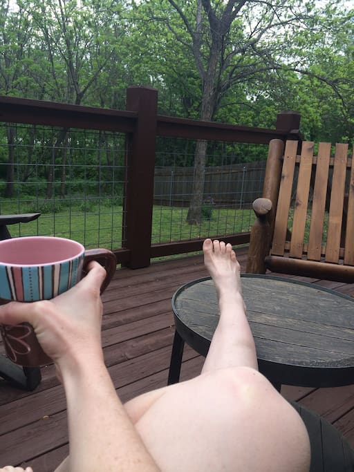 The deck is a perfect place for a cup of coffee in the morning.