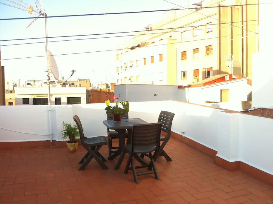 The terrace in the evening time