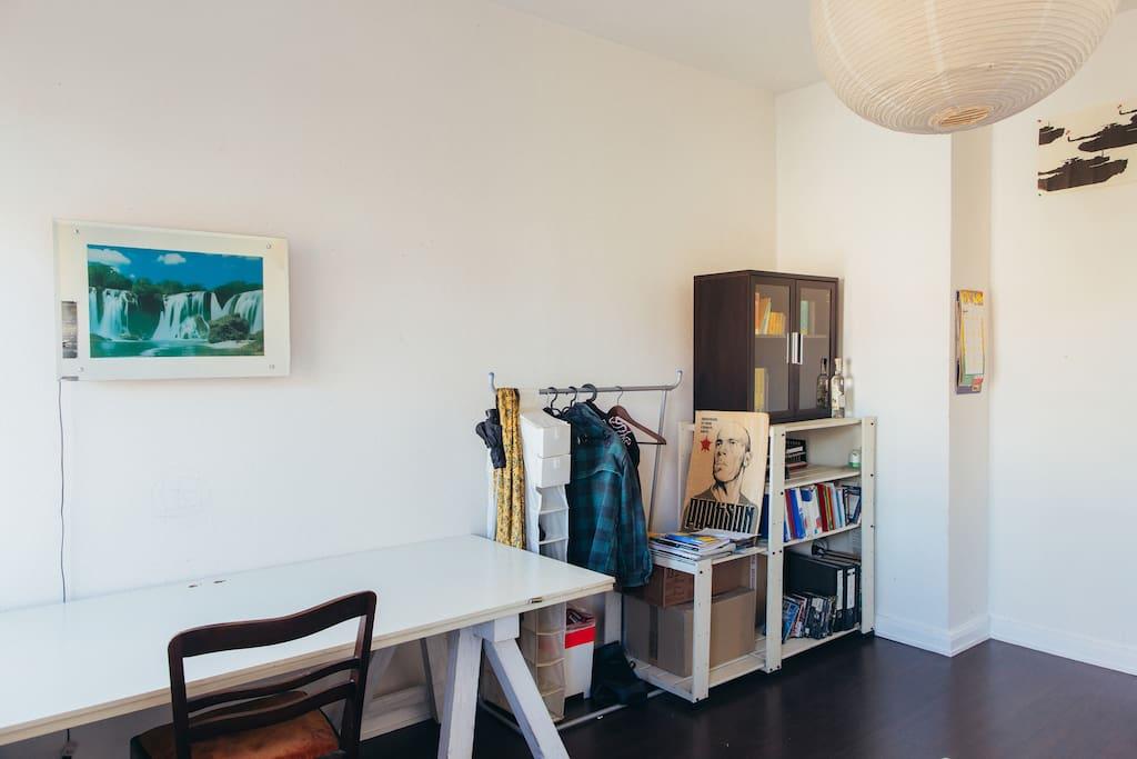 Hangers, wardrobe and plenty of storage space