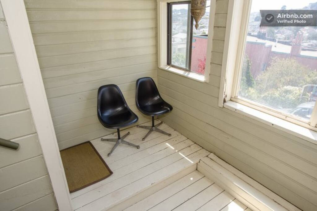 inside/outside seating w eames chairs
