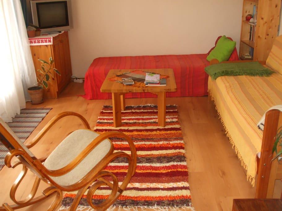A kertből nyíló hangulatos nappali szoba.