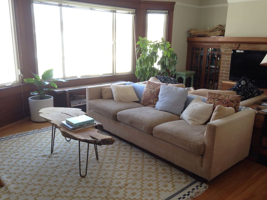 Spacious living room includes two seating areas