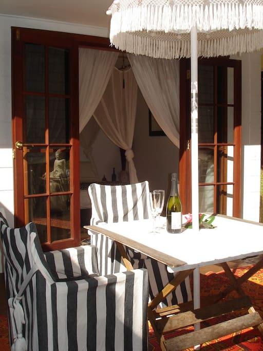 Guest deck overlooking rainforest