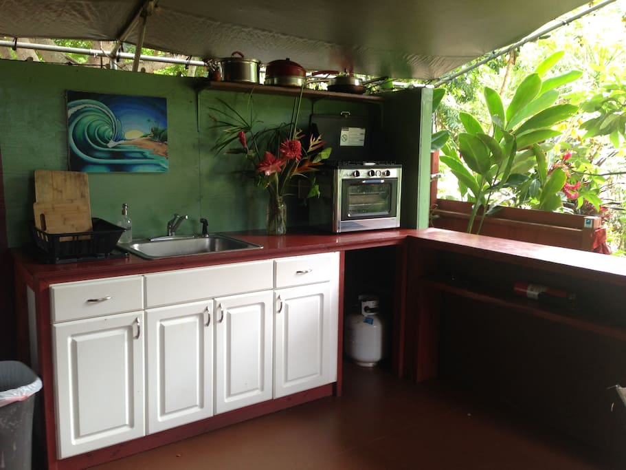 The fully equipped camp kitchen provides everything you need to cook great meals