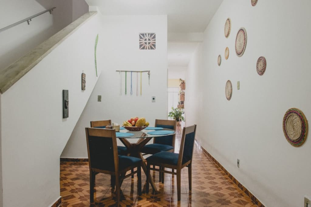 Here's one of our dining areas, it's on the first floor. On the left you can see the staircase up to the second floor. More pictures as you scroll..