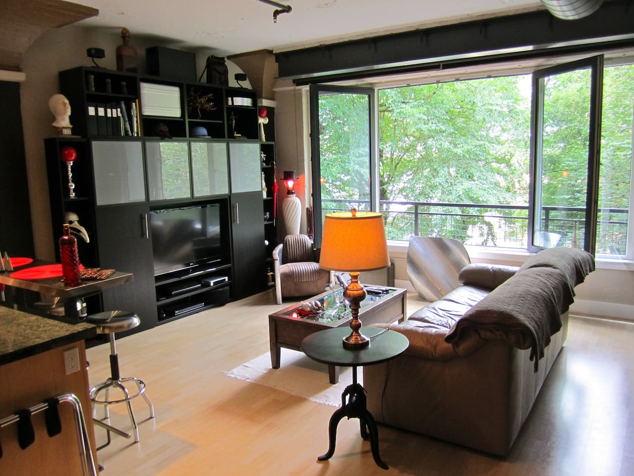 Here's the main living space!  I keep the French Style doors open almost always.  With the park just outside it feels like you're in the middle of the woods when in actuality you're in the middle of the city!