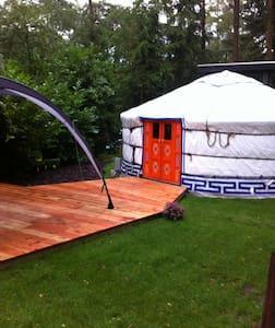 Ingerichte yurt op kleine camping - Yurt