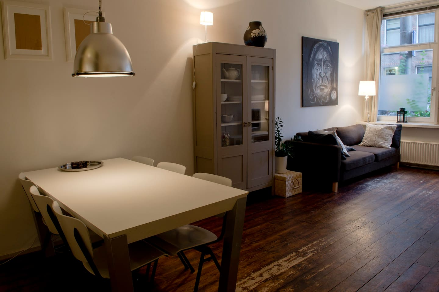 The livingroom  of the Westerpark-apartment; the couch is a sofa couch and can be transformed to a bed for 2 persons