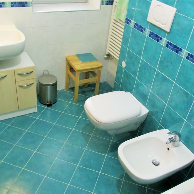 Bagno privato con wc, lavabo, bidet e vasca/doccia.