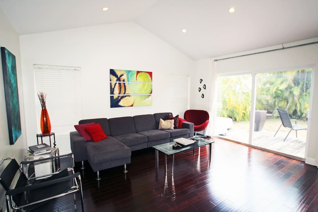 The tv room, which looks out to the backyard