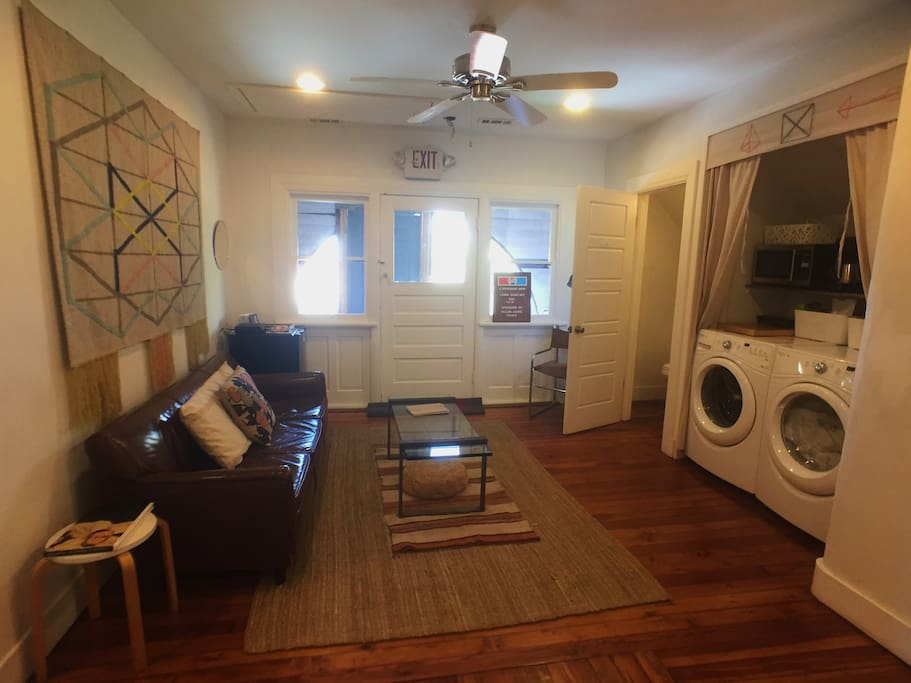 3rd Floor Lounge Area when you come to the top of the stairs,  equipped with brand new furnishings, mini fridge, washer/dryer, microwave, coffee pot & electric tea kettle.