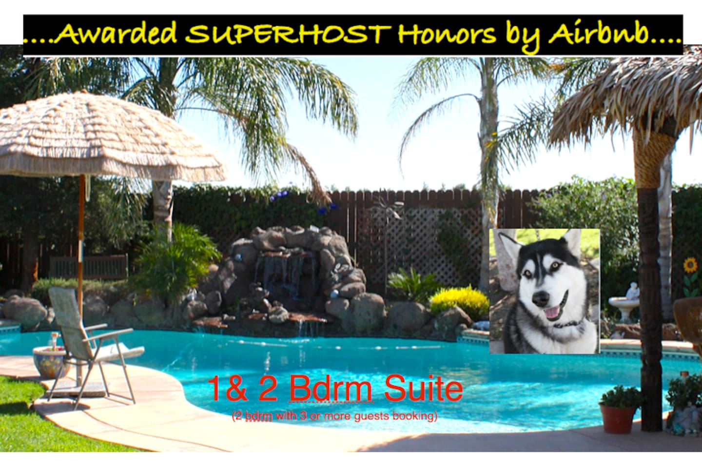 Peaceful waterfall, Palapa hut/BBQ area(see add'l photos) and my pup, Koda.