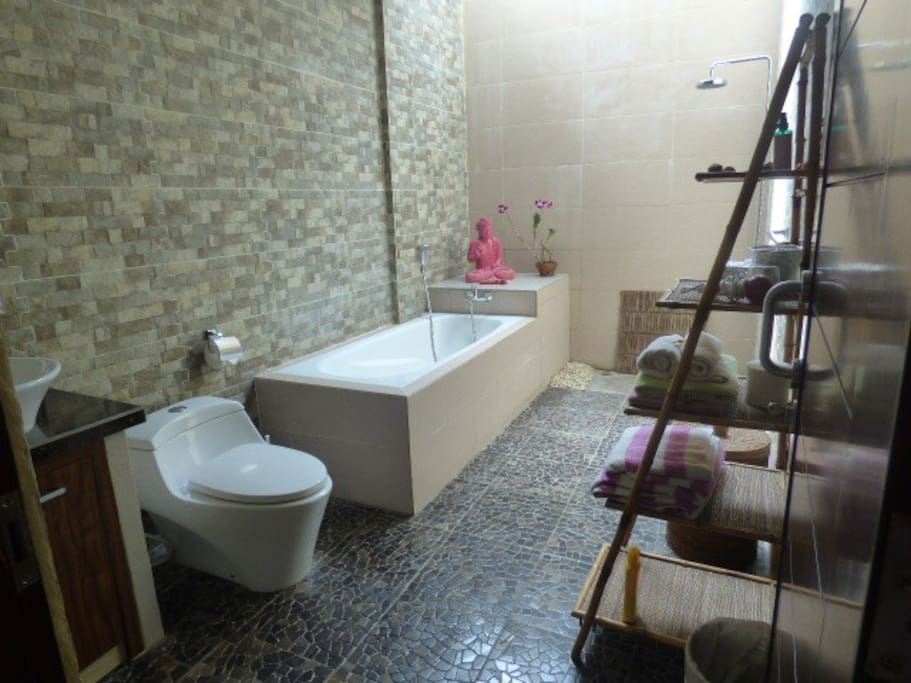 your Bathroom with shower and bain and daylight and hot water
