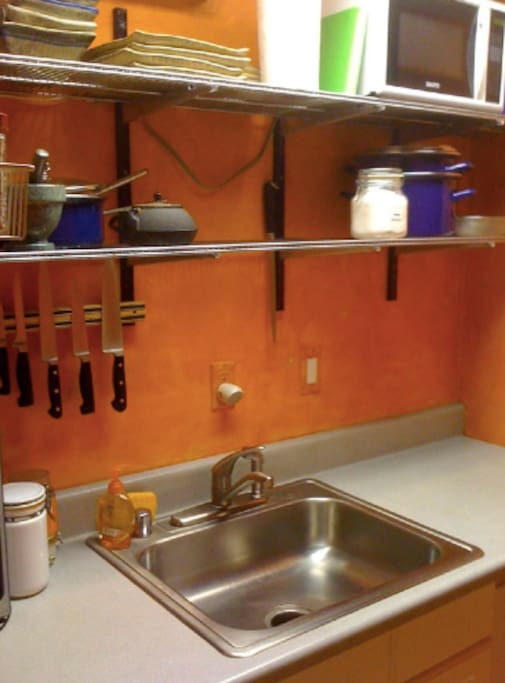 Small but functional boat-galley kitchen.