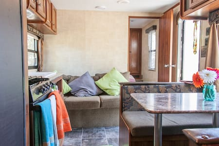 Cozy travel trailer in the country