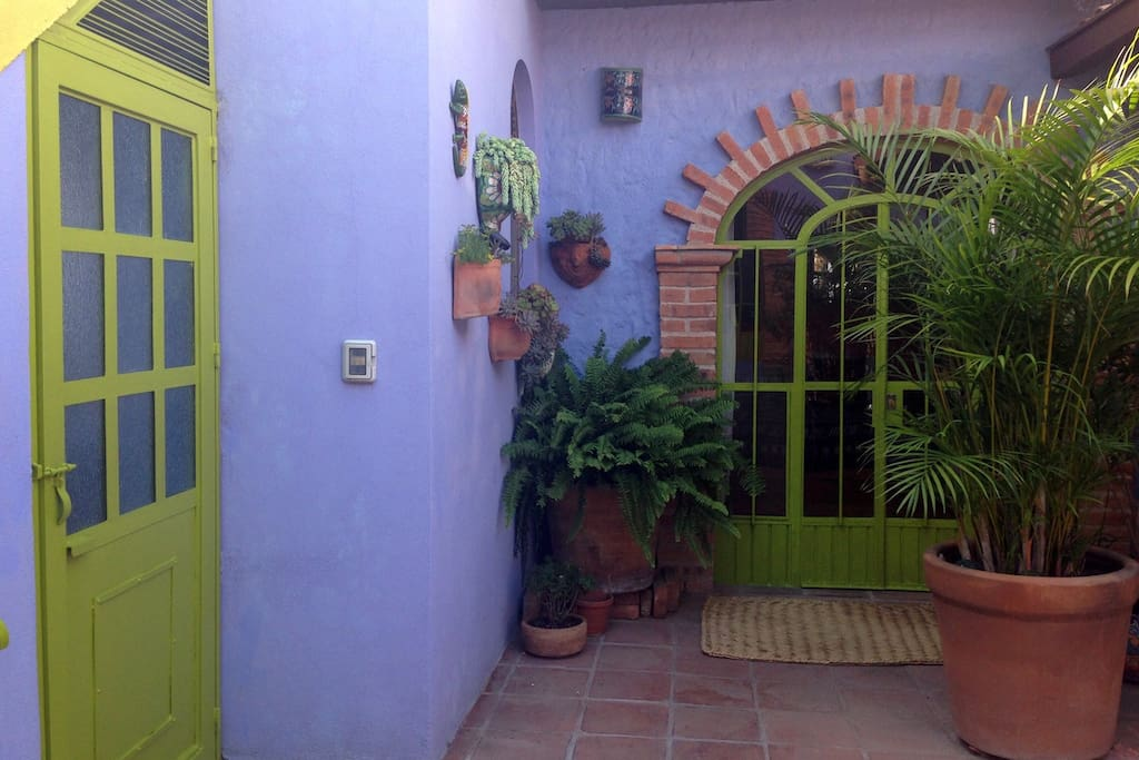 Entering your room from the terrace, snake through the trees and plants to your private space.
