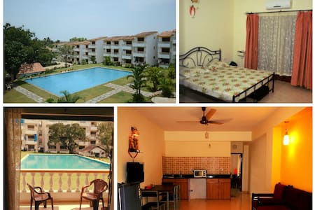 Pool facing fully furnished AC apt - Candolim