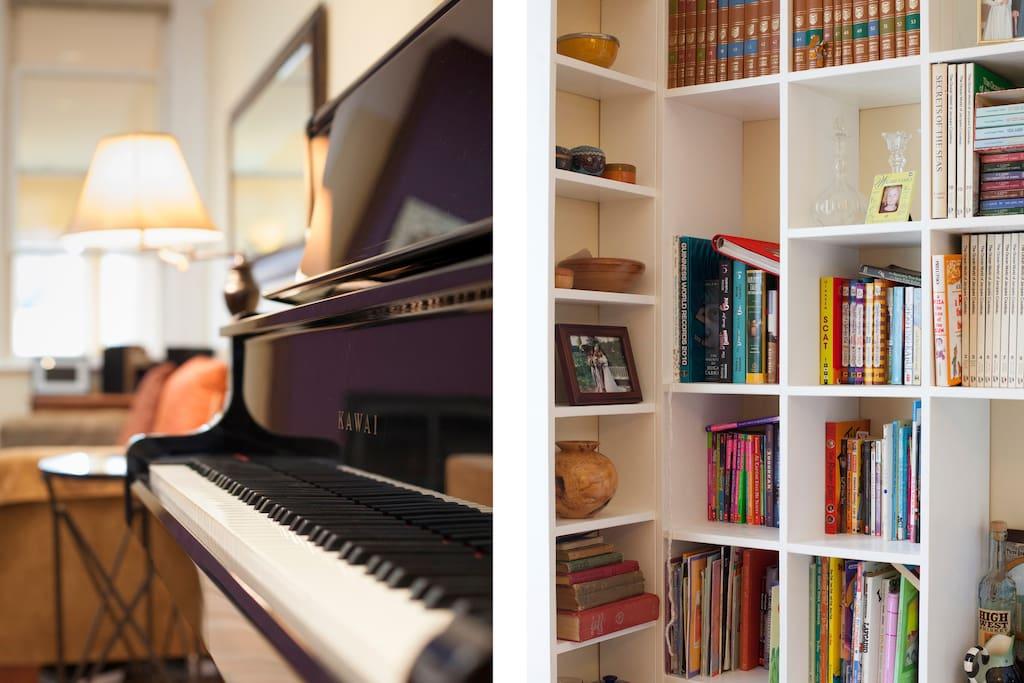 Piano and bookshelf