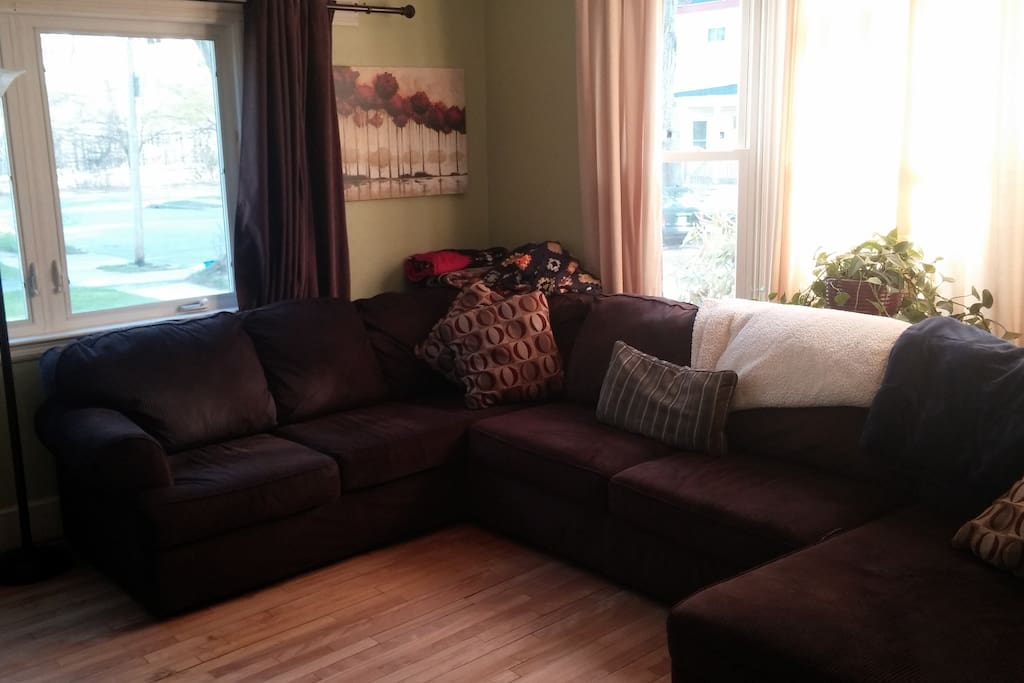 cozy living room: good hangout space with a TV (laptop hooked into TV), games, and a super comfy couch