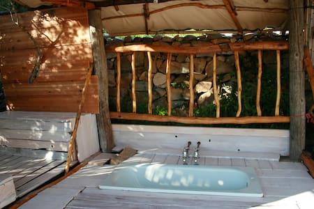 "#07 ""ECSTASY"" Bathhouseshack + tent - Telt"