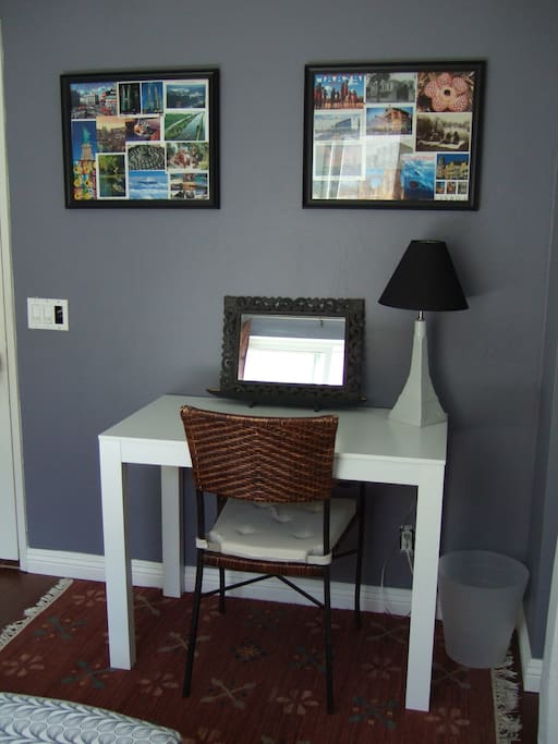 small desk in bedroom with wireless internet.