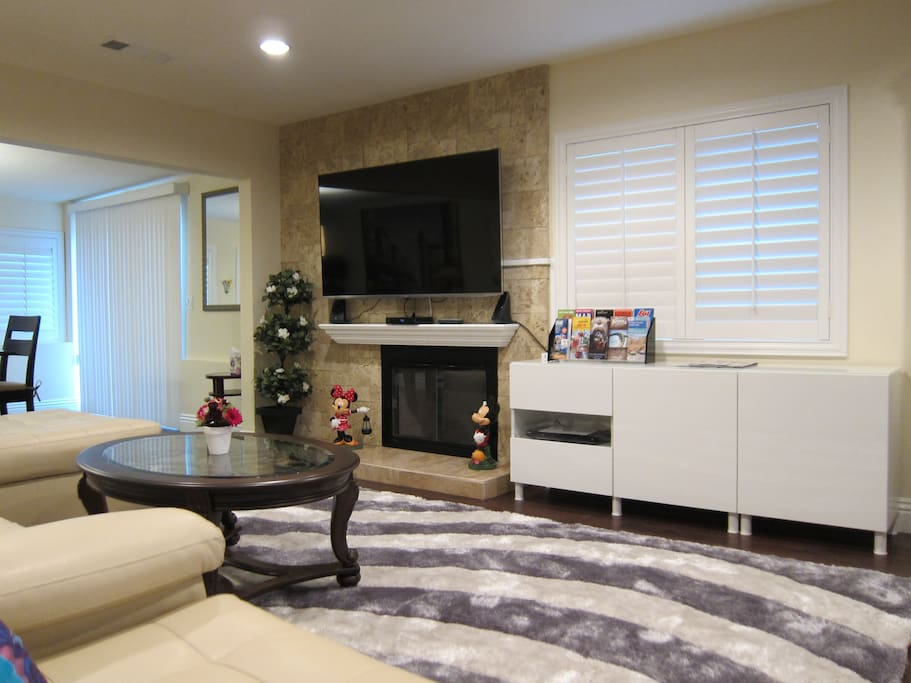Living room: Large 65 inch 4k TV, DVD/Bluray collection, Travel brochures.