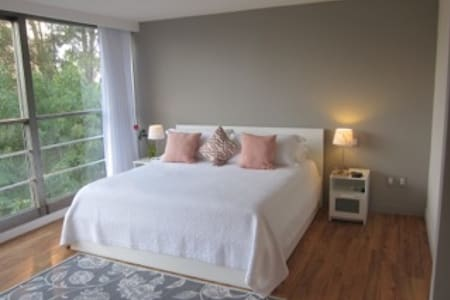 Our newly renovated one bedroom apartment is the perfect combination of urban modern and peacefull retreat! Well located elegant area, views of green gardens and in the mornings, of the volcanic mountains surrounding Mexico!Lots of great restaurants!
