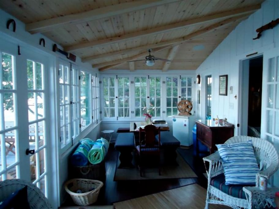 Indoor porch covered in windows