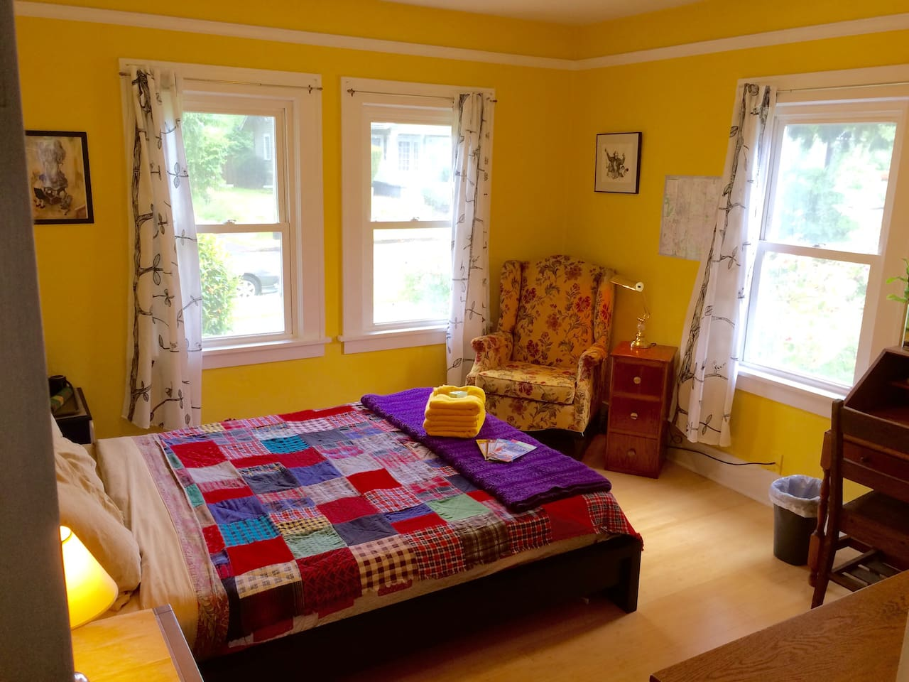 A crazy comfortable bed, sunny windows, and all the comforts of home!