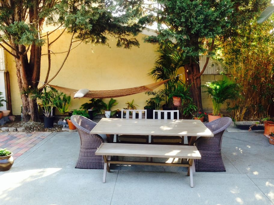 Dine and relax in large quite yard.