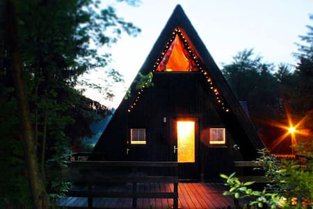 Schönes Nurdachhaus am Waldsee in den Harz-Bergen - Hus