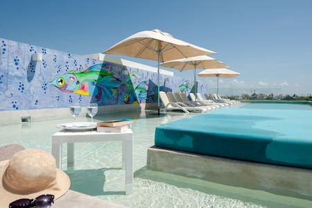 Mod 2 Br/ Beach steps/ Pool Rooftop - Playa del Carmen - Apartment