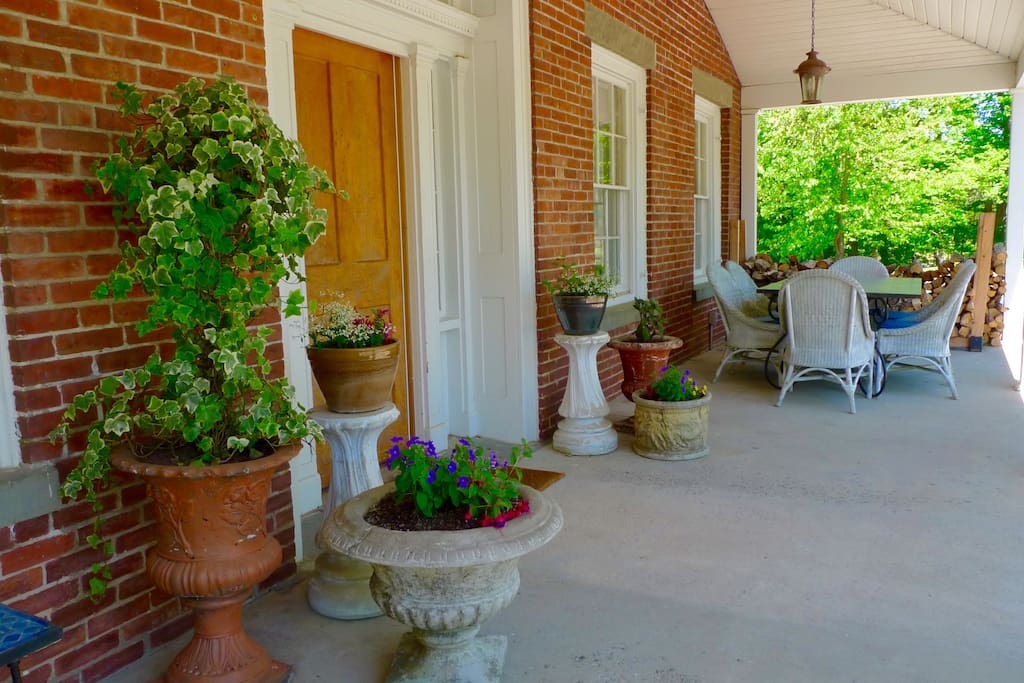 Fine weather on front porch, main entrance