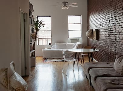 Beautifully bright, immaculately clean apartment steps from Tompkins Sq. Park in Manhattan's most vibrant neighborhood. Your room comfortably sleeps two, best for couples on the go. Make sure to read full description and look through all the photos!