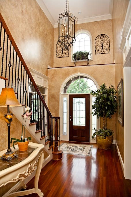 The front door is your entrance which goes straight up the stairs to the bedrooms.